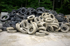 Old Tires. A pile of old tires at the transfer station royalty free stock photo