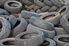 Old tires. On the scrap yard Stock Photo