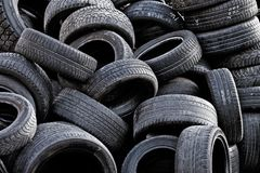 Old Tires. Pile of old used car tires royalty free stock photos