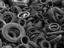 Old tires. B&W Old Tires in a Landfill Stock Images