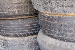 Old tires. Unavailable for car Royalty Free Stock Photography