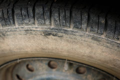 Old tires. Old black tires of car wheel Royalty Free Stock Image