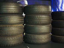 Old tires at car museum in Turin Royalty Free Stock Photos