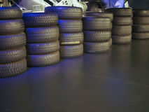 Old tires at car museum in Turin Stock Photos