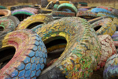 Old tires with draft surface. With paint texture royalty free stock photo