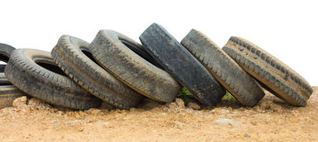 Old tires on the ground Royalty Free Stock Images