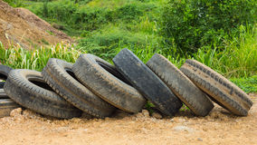 Old tires on the ground Stock Photography