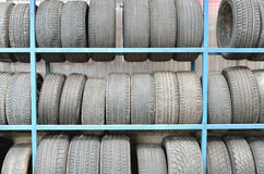 Old Tires In Storage Stock Photos