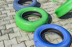 Old tires painted Stock Photo