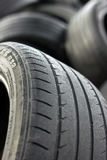 Old tires. Point redemption of old tires royalty free stock photography
