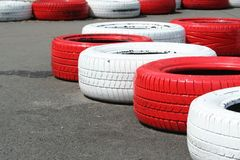 Old tires on race track Stock Photo