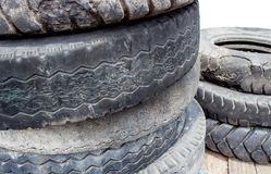 Old tires stacked Stock Image