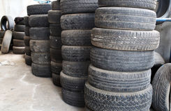 Old tires stacked. Royalty Free Stock Images