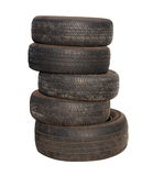 Old tires stacked, isolated on white Stock Photo