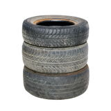 Old tires stacked, isolated on white Stock Photos