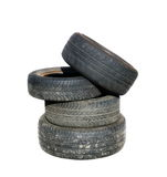 Old tires stacked, isolated on white Stock Photography