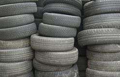 Old tires. Wall of old car tires Stock Image
