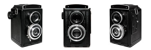 Old TLR camera set isolated on white background Royalty Free Stock Images