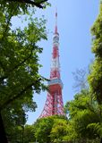 Old Tokyo tower. Old red metal Tokyo TV tower Stock Photo