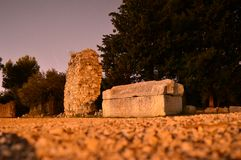 Old tomb stone  in the night salona Croatia Royalty Free Stock Images
