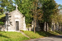 Old tombs in cemetery in Montreal stock photography