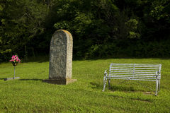 Old Tombstone & Bench Royalty Free Stock Images