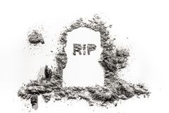 Old tombstone grave monument and rest in peace word drawing. Old tombstone grave monument and rip or rest in peace word drawing in ash or dust as death, cemetery Stock Photography