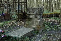 Old tombstones in abandoned cemetery.  Stock Images