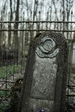 Old tombstones in abandoned cemetery.  Royalty Free Stock Image