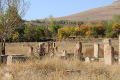Old cemetery at lake Van, Anatolia, eastern Turkey. Old tombstones of a cemetery at lake Van in eastern turkey stock image
