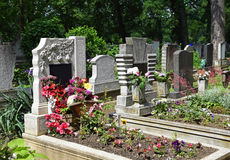 Old tombstones in the cemetery Royalty Free Stock Image