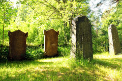 Old Tombstones at Church Yard at Midsummer. Old gravestones at the corner of a green church yard in Midsummer sunlight Royalty Free Stock Photography