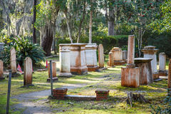 Old Tombstones with Southern Cross Flags Stock Photo