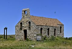 An old stone church on the prairie Royalty Free Stock Photo