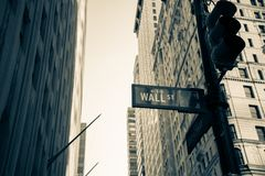 Sign wall street in Brooklyn New York City America. Old tone Wall street sign in Brooklyn New York City America Stock Photos