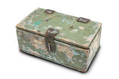 Old tool box. Box for small items on a white background Royalty Free Stock Images