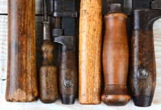 Old Tool Handles Closeup Stock Photography