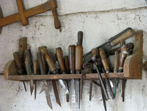 Old tools. Shelf with the old tools Royalty Free Stock Image
