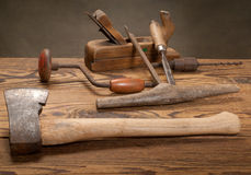 Old tools. Still life with used old tools royalty free stock photo