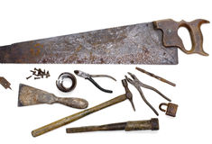 Old Tools. Group of old rusty tools Stock Photos