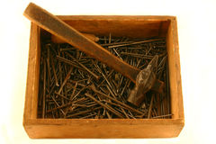 Old tools. Old nails and hammer Royalty Free Stock Images