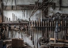The old tools in an ancient smithy.  royalty free stock photography