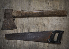 Old tools ax, saw, old tools Royalty Free Stock Photography