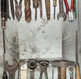 Old tools background. With copyspace stock image