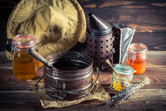 Old tools for beekeeping Stock Images