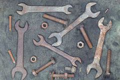 OLd Tools  bolt and nut rusty on the old fabric Royalty Free Stock Photo