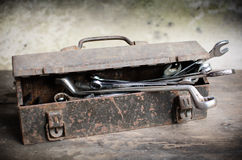Old Tools Box with wrench Stock Photography