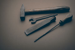 Old tools. On the brown background royalty free stock images