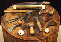 Old tools of a carpenter for working with wood Royalty Free Stock Images