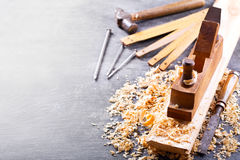 Old tools  in a carpentry workshop Stock Image